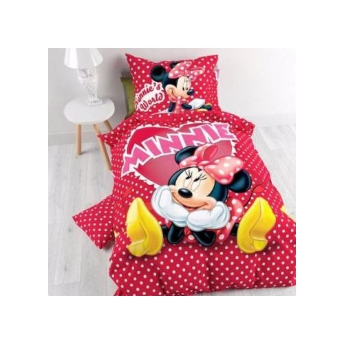 Lenjerie pat bumbac ranforce fetite Disney Minnie Mouse