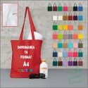 Sacosa bumbac colorat, toarta lunga, 140 g/mp, cu personalizare